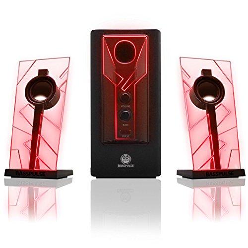 GOgroove BassPULSE Gaming Stereo Satelliten Lautsprecher Sound System mit kraftvollem Subwoofer und rot leuchtenden LED Lichtern
