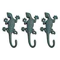 Set of 3 Verdigris Wall Mountable Cast Iron Lizard Ornament Coat Hook by Gardens2You