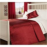 Double Quilted Passionate Faux Silk Bedspread in Red