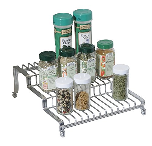mDesign Kitchen Cabinet Spice Organizer Rack for Herbs, Salt, Pepper, Cinnamon, Ginger, Garlic - Chrome (Cinnamon Soda compare prices)