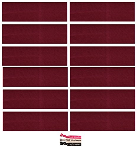 Kenz Laurenz ® Cotton Headbands 12 Pack U PICK (Available in LOTS of COLORS) - Soft and Stretchy Elastic Yoga Fashion Headband for Teens Women Girls Softball Volleyball Soccer Basketball Dance Cheer Pack Sports Teams Stretch Head Band Set Hair Wrap Accessories Wholesale Store by Kenz Laurenz (Maroon) (Cheer Pack compare prices)