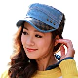 LOCOMO Denim Jeans Checkers Synthetic Leather Brim Military Flat Cap FFH149BLU by NYC Leather Factory Outlet