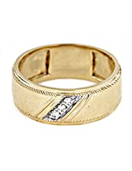 Men's Anniversary Band Ring For Free Shipping In 18K White & Yellow Gold Over .925 Sterling Silver - B014COJHMG