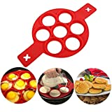 2018 New Upgrade Pancake Molds Ring Fried Egg Mold Reusable Silicone Non Stick Pancake Maker Egg Ring Quickly Make a Cake for You to Save Valuable Time(Red)