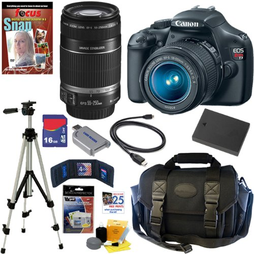 Canon Eos Rebel T3 12.2 Mp Cmos Digital Slr Camera With Ef-S 18-55Mm F/3.5-5.6 Is Ii Zoom Lens & Ef-S 55-250Mm F/4.0-5.6 Is Telephoto Zoom Lens + 16Gb Deluxe Accessory Kit