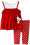Disney Baby Girls Minnie Hearts 2 Piece Knit Pullover And Pant, Chinese Red, 12 Months