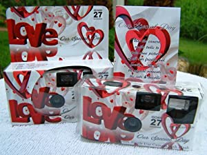 10 Pack Red Heart Love Wedding Disposable 35mm Cameras In Matching Gift Boxes- 27 Exposures Each- With Matching Table Tents
