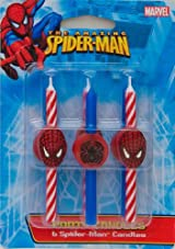 6 pc Spiderman Birthday Party Cake Candles