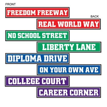 Beistle 4-Pack Graduateuation Street Sign Cutouts, 4-Inch by 24-Inch