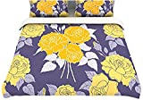 "Kess InHouse Anneline Sophia ""Summer Rose Yellow"" Purple Lavender 104 by 88-Inch Cotton Duvet Cover, King"