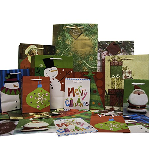 30ct Holiday Gift Bags With Handles & Tags Assorted Christmas Small Medium Large Assortment Bulk Set