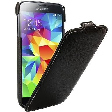 xubix PREMIUM Tasche Samsung Galaxy S5 Flip Case PU Leder Cover, Schwarz
