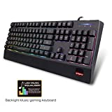 SAREPO Gaming Keyboard Led Backlight - Echo Music LED Equalizer Mode 9 Multicolor Backlight illuminated gaming keyboard with 19 Anti Ghosting Keys for Mac and Windows