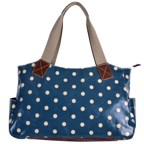 Ladies Designer Oilcloth Polka Dots Day Tote Shoulder Bag Handbag