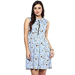 STYLEBAY Women Blue Pleated Dress (CSD006, Medium)