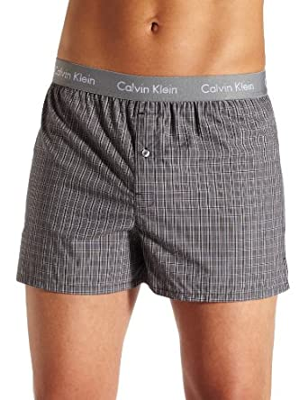 Calvin Klein Men's Matrix Boxer Woven Slim Fit, Finn Plaid, Large