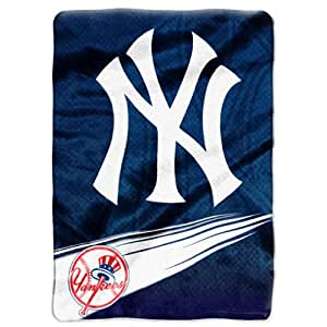 MLB New York Yankees Speed Plush Raschel Throw Blanket, 60x80-Inch