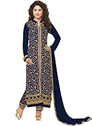 Adorn Fashion Heena Khan Dark Blue Georgette Pant Style Long Salwar Suit Material