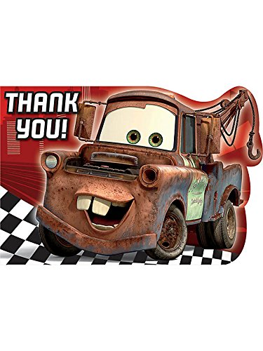 Disney's Cars 2 Die Cut Thank You Cards 8 Pack