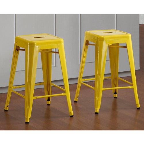 Strange Buy Tabouret 24 Inch Lemon Metal Counter Stools Set Of 2 Frankydiablos Diy Chair Ideas Frankydiabloscom