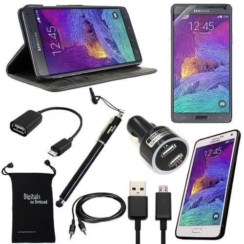 Galaxy Note 4 Case and Accessories, DigitalsOnDemand ® 9-Item Accessory Bundle Kit for Samsung Galaxy Note 4 – Wallet Folio Black Leather Case, Slim Hard TPU Protective Case, Ultra Clear HD Glass Screen Protector, 2-in-1 Touch Stylus Ink Pen, USB Cable, Dual Car Charger Adapter, 2.0 USB OTG, Auxiliary Sound Cable, Drawstring Travel Pouch Bag