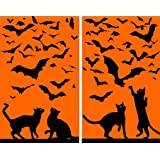 WOWindow Posters Cats and Bats Silhouettes Halloween Window Decoration – $8.95!