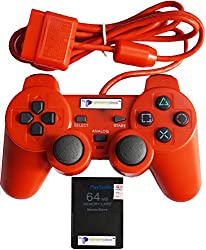 Digital Gaming World PS2 Wired Controller/Joystick with PS2 64MB Memory Card For Sony Playstation 2 (Red Color Limited Edition, Combo Deal, Grade-1 High Quality).
