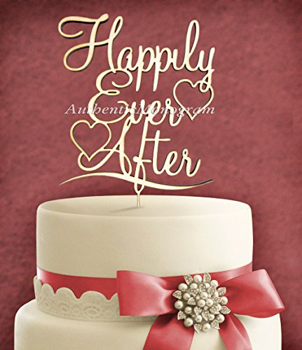 "5""Inch Cake Topper - ""Happily Ever After"" Wooden Painted Monogram, Wedding Decor Monogram, Initial, Celebration, Anniversary, Special Occasion front-738950"
