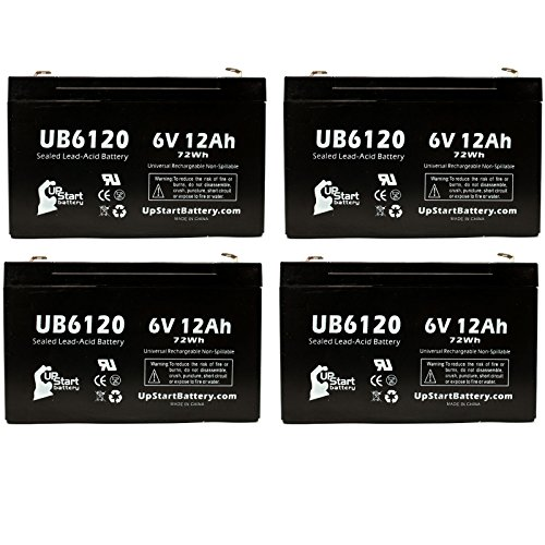 4X Pack - Panasonic Lc-R0612P Battery - Replacement Ub6120 Universal Sealed Lead Acid Battery (6V, 12Ah, 12000Mah, F1 Terminal, Agm, Sla) - Includes 8 F1 To F2 Terminal Adapters