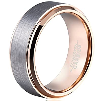 MNH Men's 8mm Tungsten Carbide Wedding Rose Gold Plated Beveled Polished Comfort Fit Rings Size 5-14