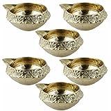 Set Of 6 - Handmade Indian Puja Brass Oil Lamp - Diya Lamp Engraved Design Dia - 2.5 Inch