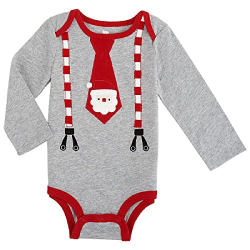 Baby Boys' Grey / Red Santa Tie Long Sleeve Dress Up Bodysuit Outfit