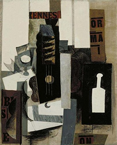Oil Painting 'Glass, Guitar, And Bottle' Printing On High Quality Polyster Canvas , 8x10 Inch / 20x25 Cm ,the Best Bar Decoration And Home Decor And Gifts Is This Best Price Art Decorative Canvas Prints (Glass Painting Liner compare prices)