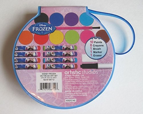Artistic Studios Disney Frozen Art Tote, Paints & Crayons - Take Along Circle Art Case