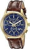 Akribos XXIV Men's AK863YGBU Quartz Chronograph Blue-Dial Gold-Tone Watch
