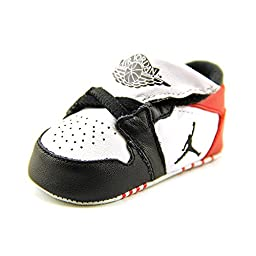 Nike Jordan Toddler Jordan 1st Crib (CB) White/Black/Gym Red Casual Shoe 2 Infants US