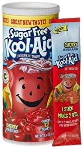 Kool-Aid Sugar Free Cherry Soft Drink Mix, Six 1.34-Ounce Canisters
