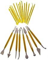 Lot de 22 outils de modelage pour la pâte à sucre (44 embouts différents) - Jaune par Curtzy TM