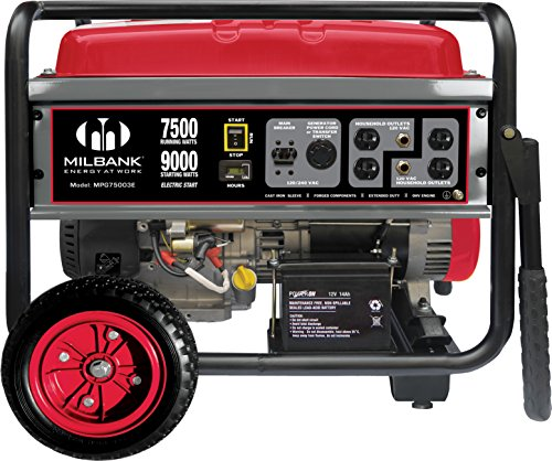 Milbank MPG75003E Portable Generator with Electric Start, 7,500 Watt