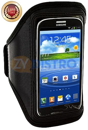 Mylife (Tm) Black Velcro Strap (Light Weight Flexible Neoprene + Secure Running Armband) For Samsung Galaxy S3 And S4 Touch Phone (Designed For All Galaxy S3 And S4 Models From All Carriers + Universal One Size Fits All + Velcro Secured + Adjustable Lengt