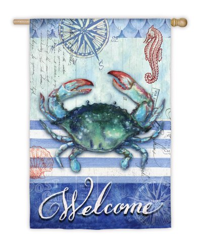 Striped Blue Crab Welcome Garden Flag