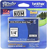 Brother Laminated Tape White on Black, 6mm (TZe315) - Retail Packaging