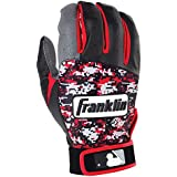 Franklin Sports Youth MLB Digitek Batting Gloves, Youth Small, Pair, Grey/Black/Red Digi, Youth Small/Gray/Black...