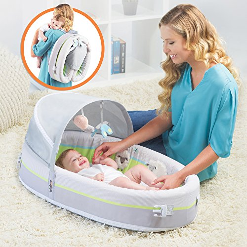 LulyBoo Travel Bassinet - Premium Portable Baby Lounge - With Activity Bar And Rattle Toys - 1