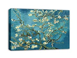 Wieco Art - Huge Gallery Wrapped Giclee Canvas Print by Classic Van Gogh Reproductions, Almond Blossom Modern Canvas Wall Art Ready to Hang for Living Room Bedroom Home Office Decorations