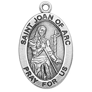"Catholic Necklace, Sterling Silver Oval Medal Necklace Patron Saint St. Joan of Arc with 18"" Chain in Gift Box. Catholic Saint Joan of Arc Patron Saint of France, Rape Victims, Soldiers, Funeral Directors, Servicewomen's, Virgins, Women in the Military, C"