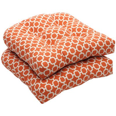 Outdoor Wicker Seat Cushion (Set of 2) Color: Orange/White Geometric image