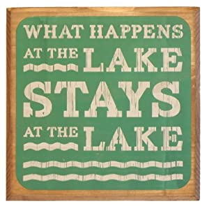 What Happens At The Lake Stays At The Lake Sign - Green - Lake House Sign - Rustic Decor - Large Solid Wood 11x11x1.5 - Makes a Great Decoration, Wall Art, or Gift in Any Beach House, Cabin, Cottage, or Lodge. Made in USA.