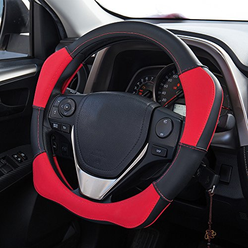 Mr.Ho Odorless Microfiber Leather Steering Wheel Cover Universal 15inch for Automotive Interior Accessories (Leather Red Steering Wheel Cover compare prices)