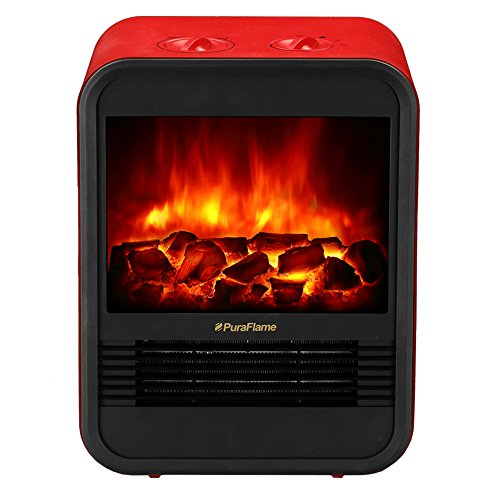 Puraflame Clara Red 9 Inch Mini Portable Fireplace Heater, 650W/1250W